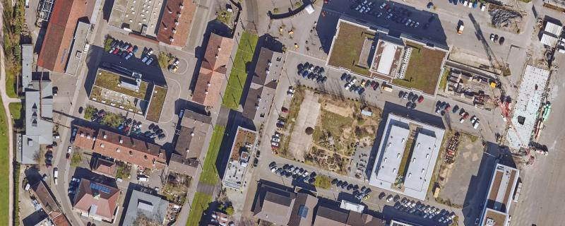 Alter Schlachthof Karlsruhe Luftbild 2020. Bildrecht: Liegenschaftsamt, Stadt Karlsruhe